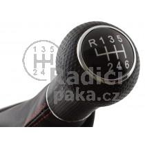 Řadící páka s manžetou VW Bora, 6 stupňová, chrom, manžeta prošitá s červenou nitkou