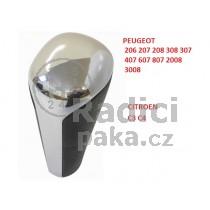Hlavice řadící páky Peugeot 3008, automat, lesklý chrom